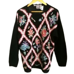 VINTAGE Black & Pink Hand Knit Cottagecore Floral Granny Knitted Sweater Large